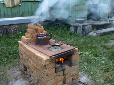 Печка на даче своими руками фото на улице